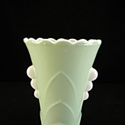 Anchor Hocking Green Fired-On Deco Vase