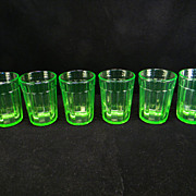 Six Green Pillar Optic Water Tumblers by Anchor Hocking