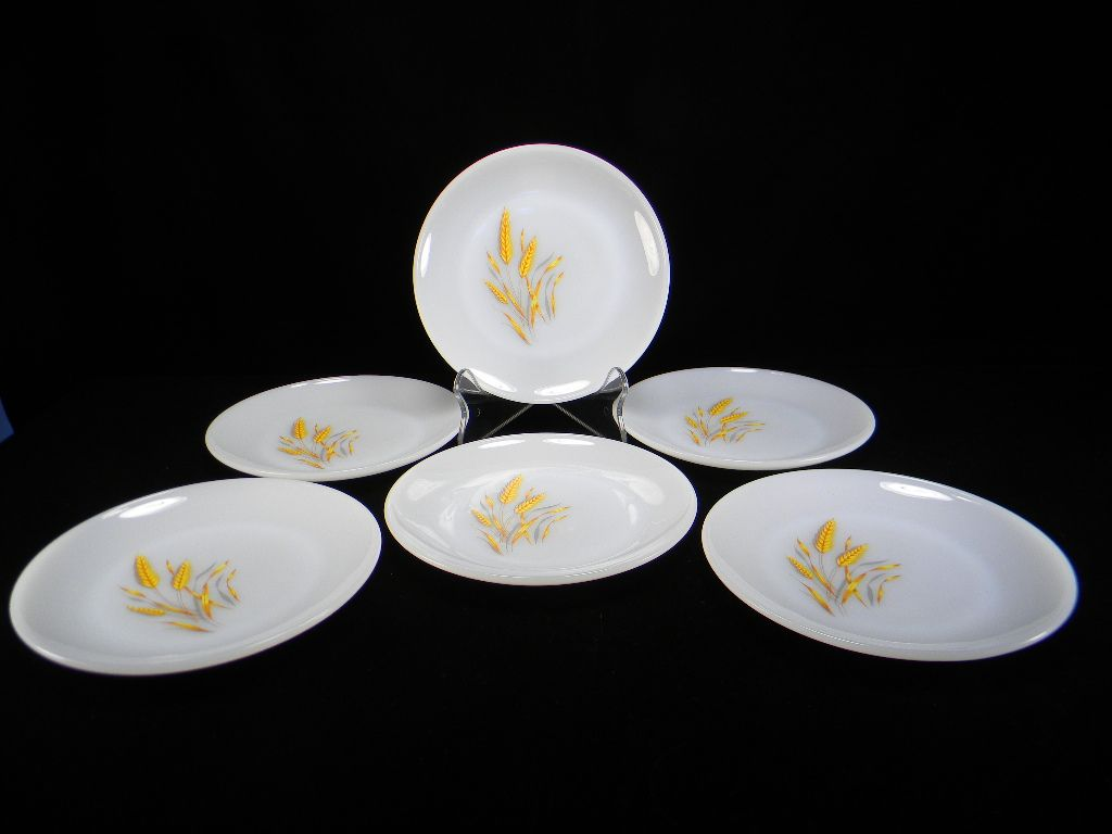 Six Fire King Wheat Pattern Salad Plates