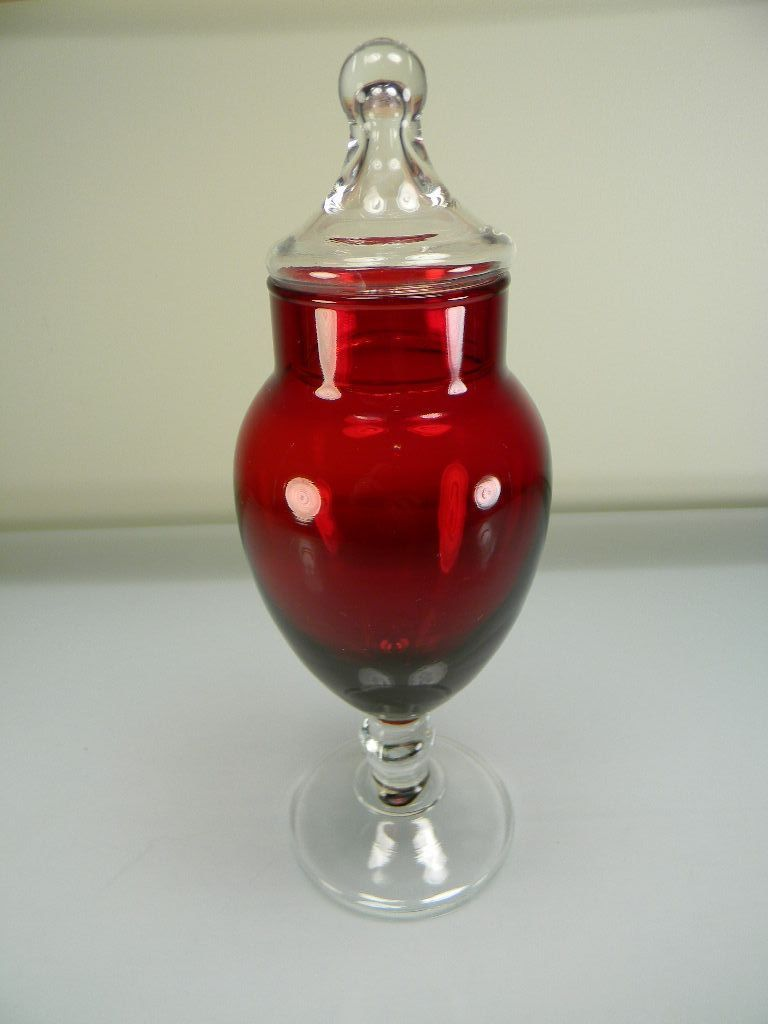 Anchor Hocking Royal Ruby Red Stemmed Apothecary/Candy Jar