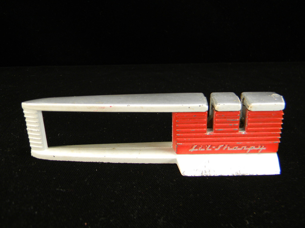 "Vintage 1950 Red & White ""Lil-Sharpy"" Knife Sharpener"