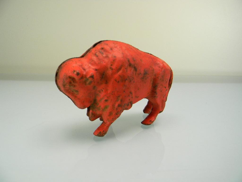 Vintage 1920's Red Cast Iron Buffalo Still Bank