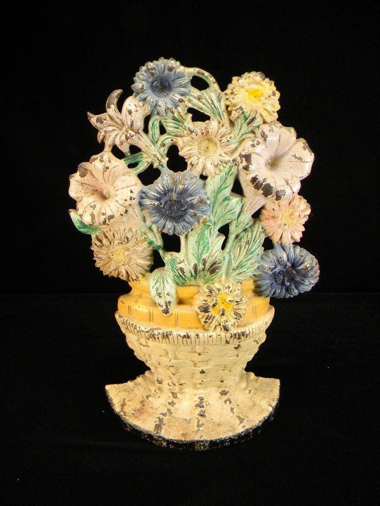 Early 1900's Hubley Cast Iron Flower Pot Doorstop