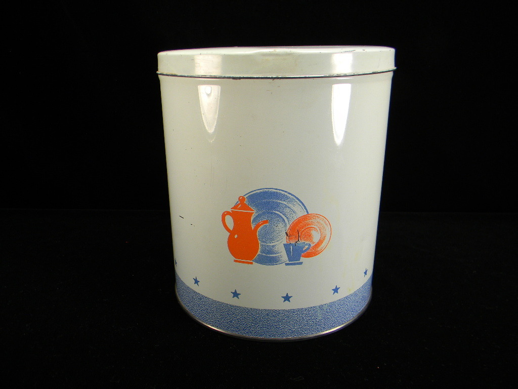 Vintage Red, White, & Blue Kitchen Canister