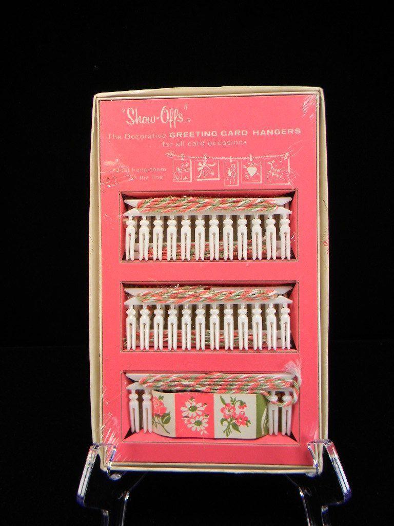"Vintage 1963 ""Show-Offs"" Decorative Greeting Card Hangers in Original Box"