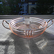 Vintage Pink Two-Handled Candy Dish