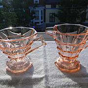 Pink Tea Room Footed Creamer & Sugar