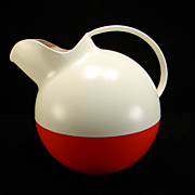 Vintage Red & White Plastic Ball Tilt Pitcher