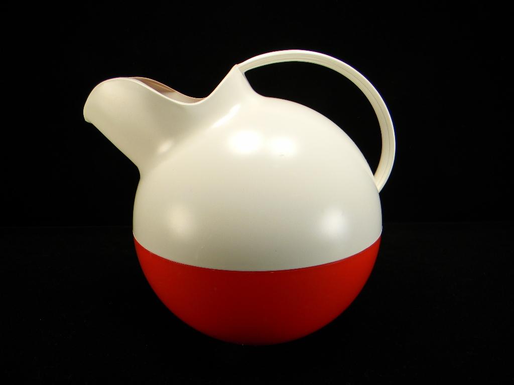 Vintage Red & White Plastic Ball Tilt Pitcher