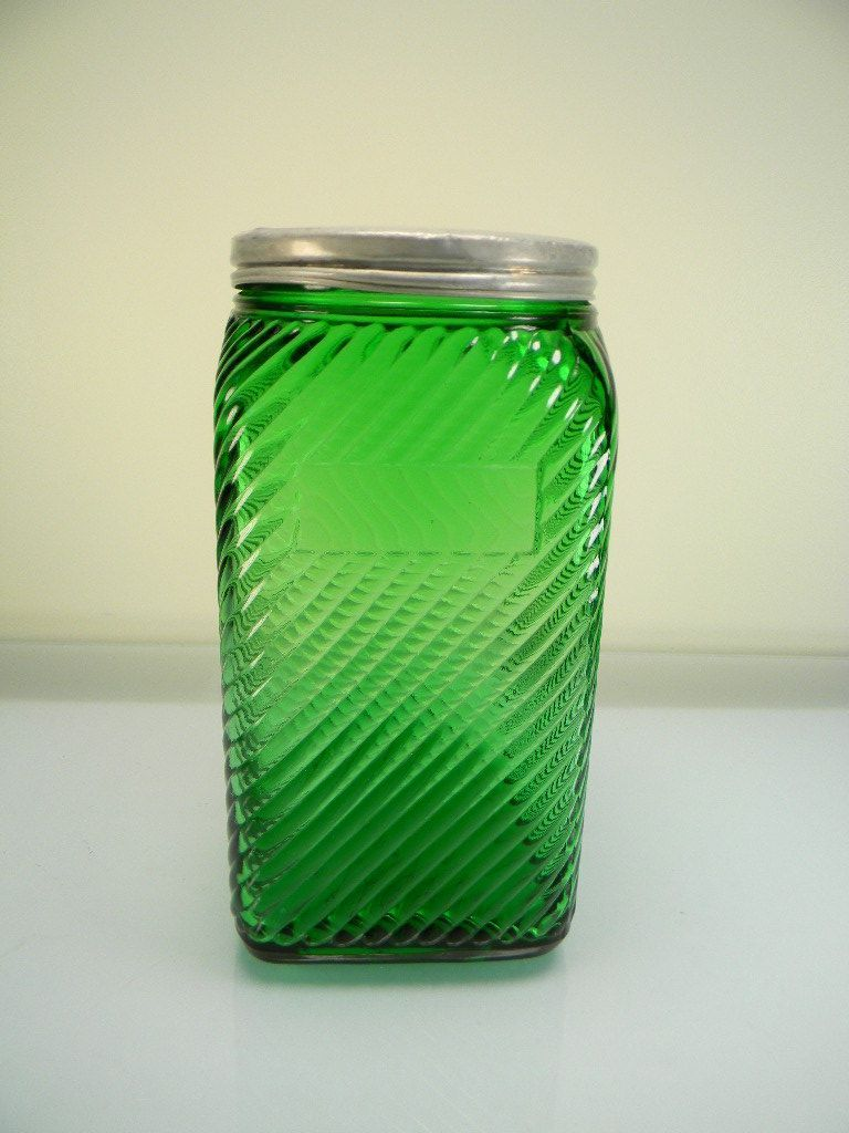Vintage Forest Green Owens-Illinois Diagonal Ridged Canister