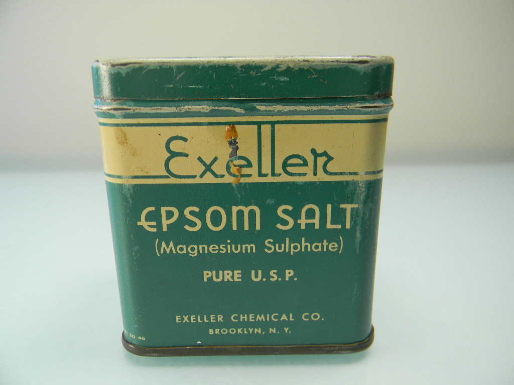 Vintage Green & Cream Exeller Epsom Salt Tin
