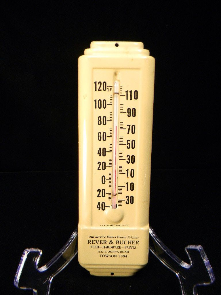 Vintage Cream-Colored Metal Advertising Thermometer
