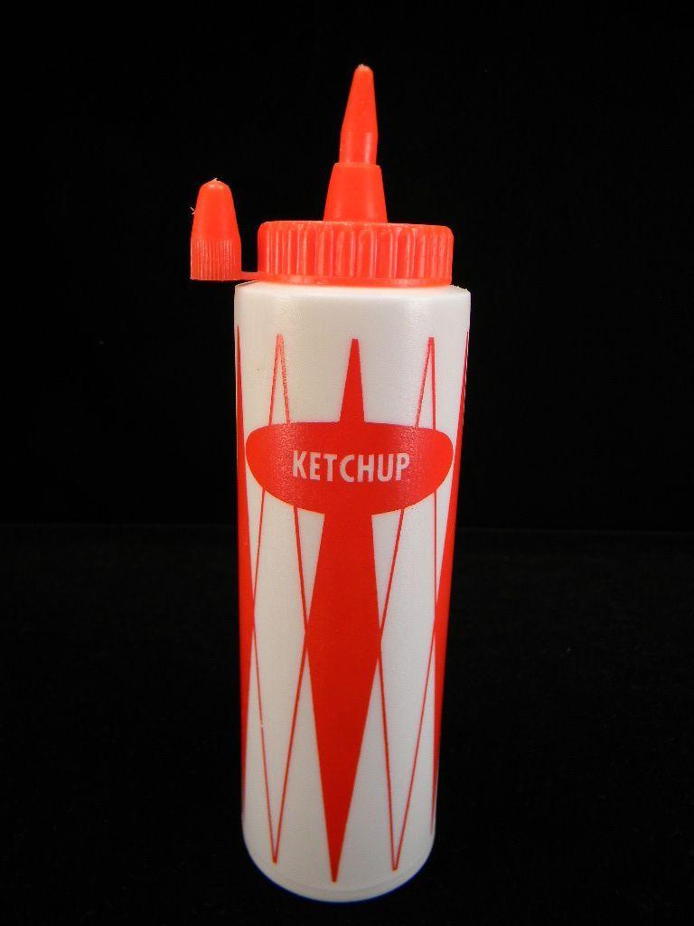 Vintage  Plastic Red & White Ketchup Bottle
