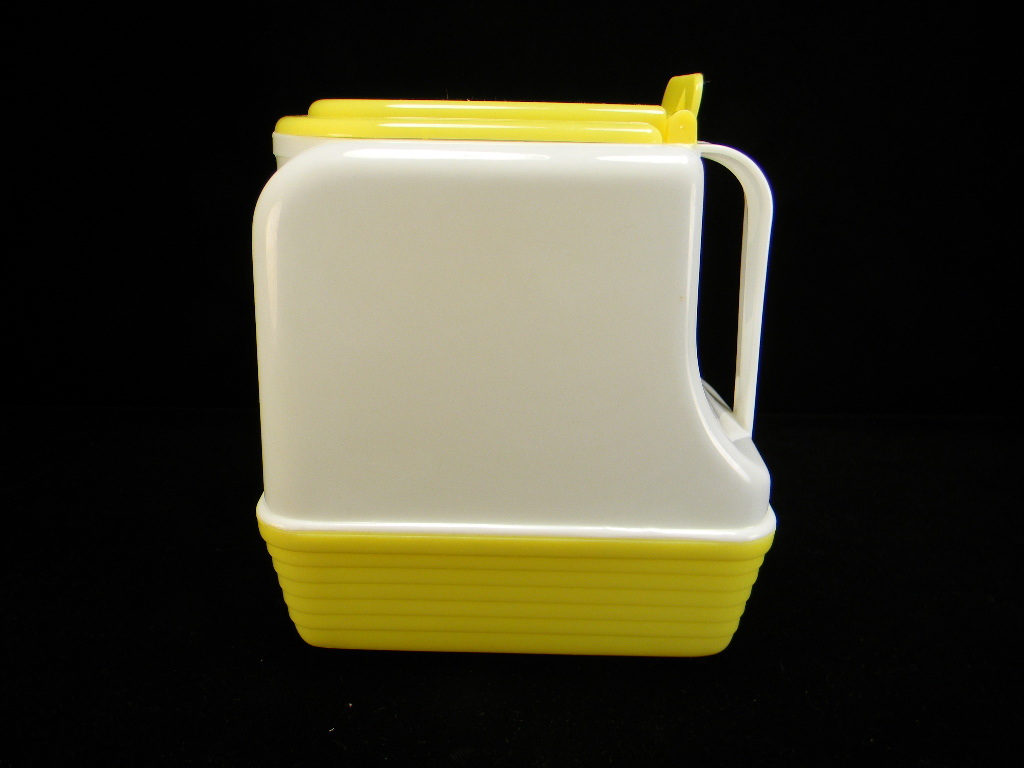 Vintage 1950's Yellow & White Lustro-Ware Refrigerator Pitcher with Original Label