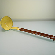 Vintage Yellow & White Speckled Enamel Dipper/Ladle with Brown Handle
