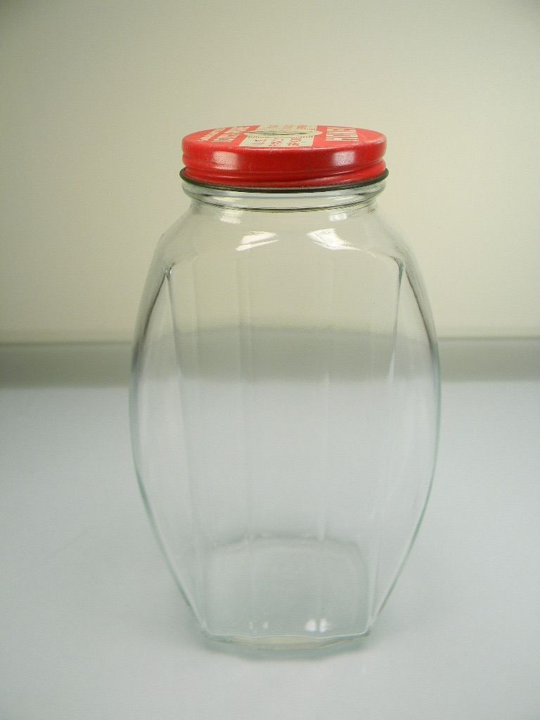 Vintage Hazel Atlas Product Jar with Red & White Honey Lid
