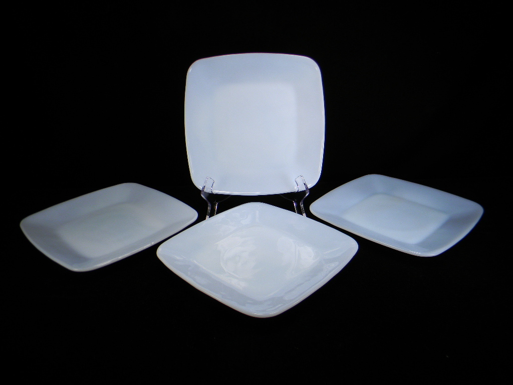Four 1950's Anchor Hocking Azurite Blue Charm Luncheon Plates