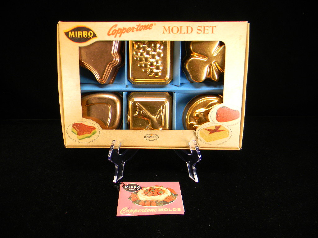Vintage 1950's Mirro Copper-tone Mold Set with Original Instructions/Recipes in Original Box