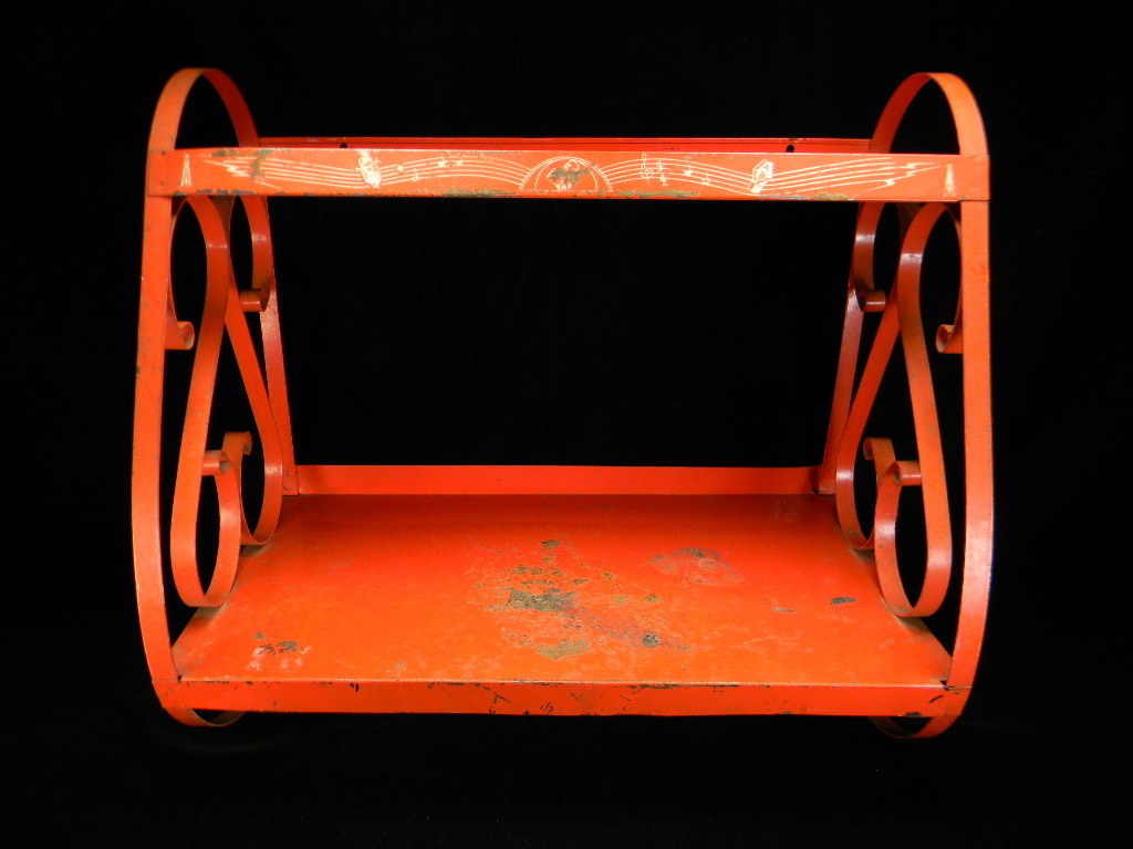Vintage Red Metal Shelf