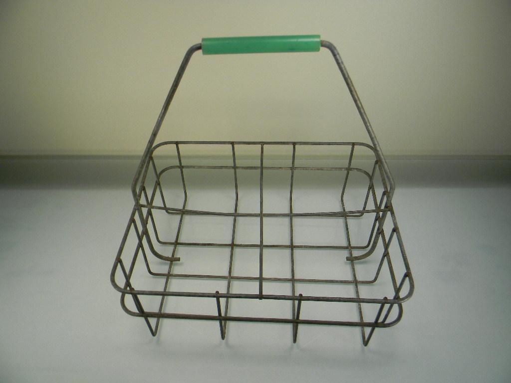 Vintage Wire Milk Bottle Basket