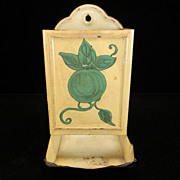 Vintage Cream Match Safe with Green Fruit/Leaf Motif