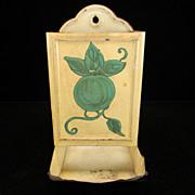 Vintage Cream Match Safe with Green Fruit/Leaf Motif