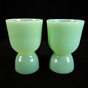 Two Vintage Fire King Jadite Egg Cups
