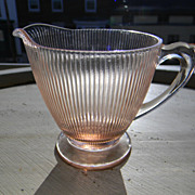 "Vintage Pink Homespun ""Fine Rib"" Creamer by Jeannette Glass Company"