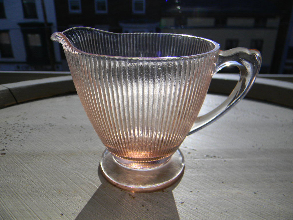 "Vintage Pink Homespun ""Fine Rib"" Creamer by Jeannette Glass Company"