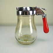 Vintage 1930's Syrup Dispenser with Red Bakelite Handle