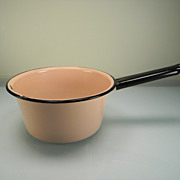 Vintage Pink Enamel Sauce Pan with Black Handle & Trim