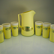 Vintage Yellow Plastic Pitcher & Tumbler Set with Original Labels