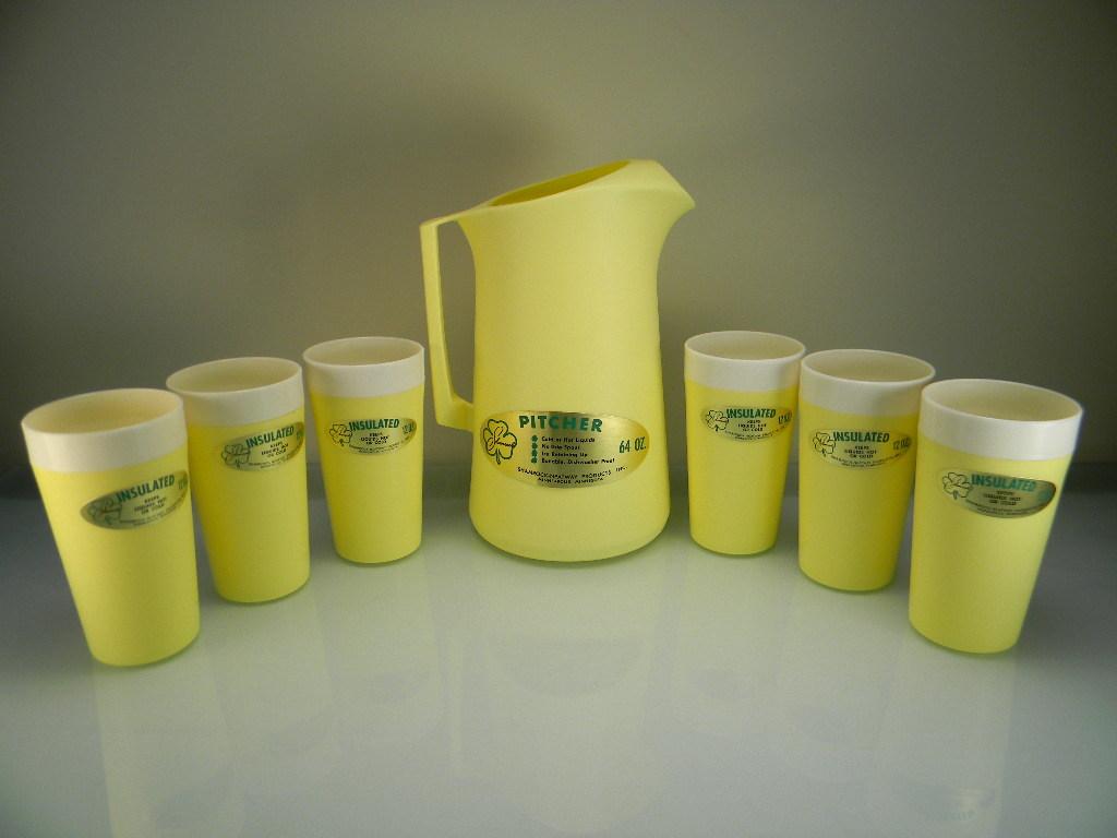 Vintage Yellow Plastic Pitcher & Tumbler Set with Original Labels