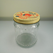 Vintage Hazel Atlas Refrigerator Jar with Colorful Fruit & Vegetable Lid