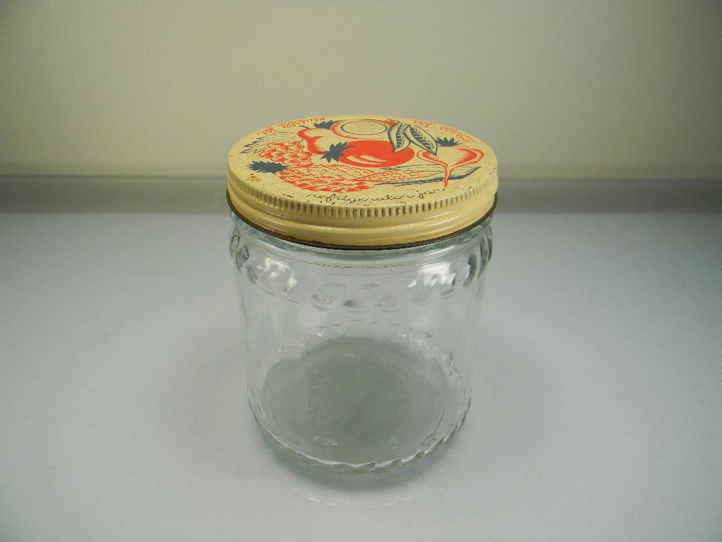 Vintage Hazel Atlas Refrigerator Jar with Colorful Fruit & Vegetable Lid