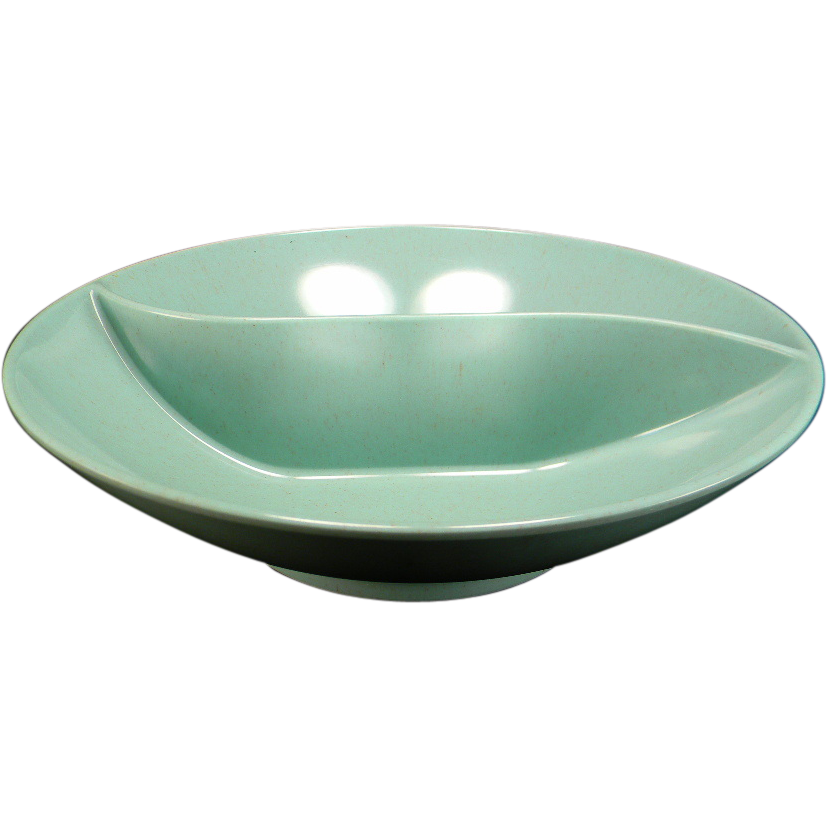 Vintage Green Speckled Melmac Divided Vegetable Bowl