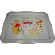 Vintage 1960's Serving Tray with BBQ Motif