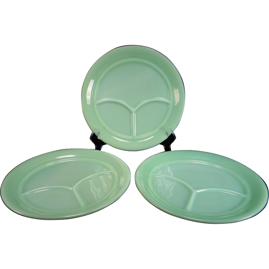 Three Fire King Jadite 3-Compartment Restaurant Ware Grill Plates