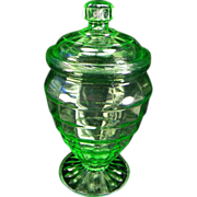 Vintage Green Block Optic Candy Jar & Cover