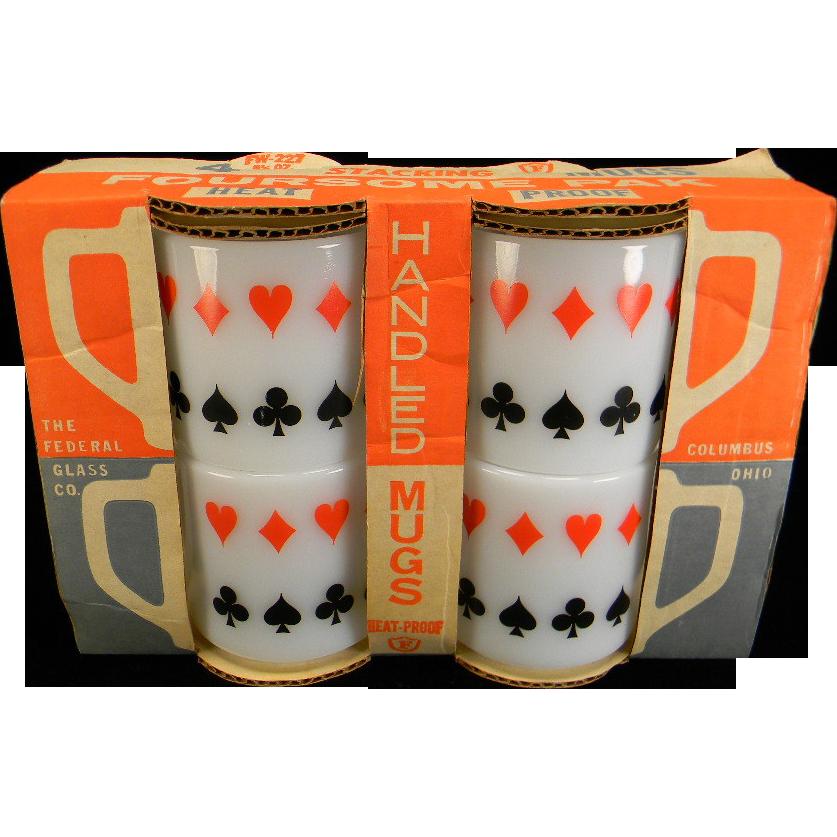 Four Vintage Federal Playing Card Mugs in Original Packaging