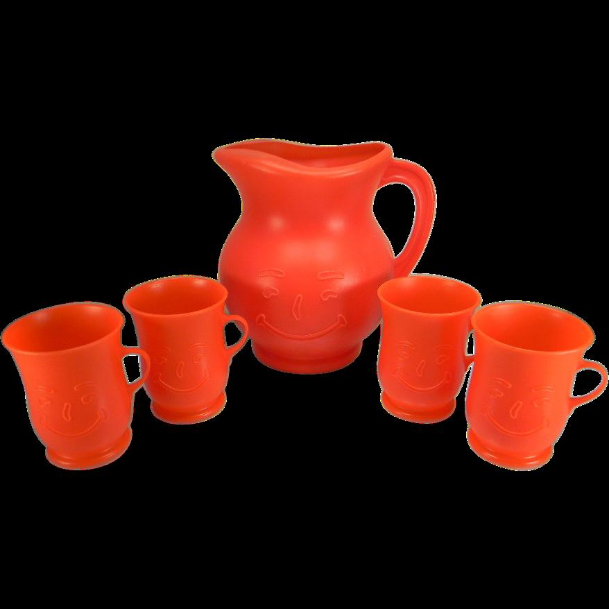 Vintage Plastic Kool-Aid Pitcher & Mug Set in Red