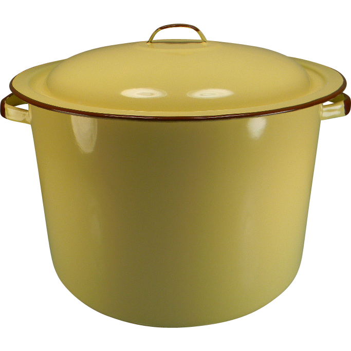 Vintage Yellow Enamel Stock Pot with Brown Trim