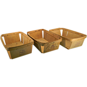 Three Vintage Oblong Wooden Berry Baskets