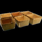 Six Primitive Wooden Berry Baskets
