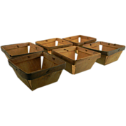 Six Small Primitive Wooden Berry Baskets
