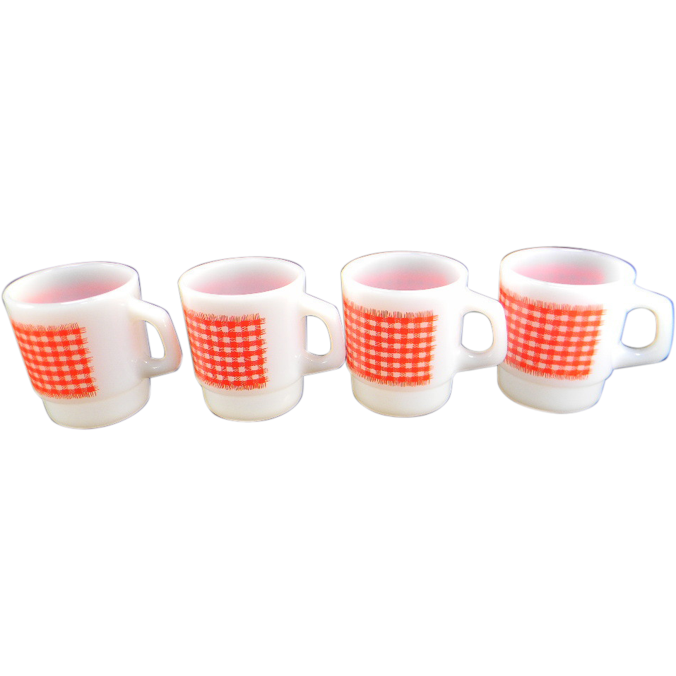 Four Fire King Red & White Gingham Stackable Mugs