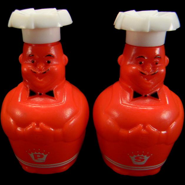 Vintage 1950's Red & White Plastic Chefs Salt & Pepper Shakers