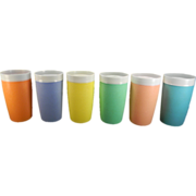 Six Colorful Bolero Therm-O-Ware Tumblers