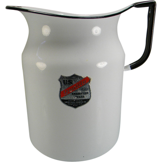 Vintage White 4 Qt. Enamel Pitcher with Original Label