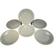 Six Fire King Ivory Swirl Dinner Plates